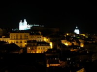 Alfama by night, the convent of Sao Vicente and the church Santa Engracia