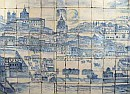 Panorama of Lisbon before 1755 with Azulejos, detail on Alfama. Panel now located at the Azulejo Museum, near the Church of Madre de Deus